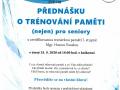 Plakát - přednáška o trénování paměti nejen pro seniory dne 15.9.2020 v Knihovně F.V.Lorence