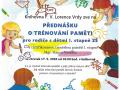 Plakát - přednáška o trénování paměti pro rodiče s dětmi 1. stupně ZŠ dne 17.9.2020 v Knihovně F.V.Lorence